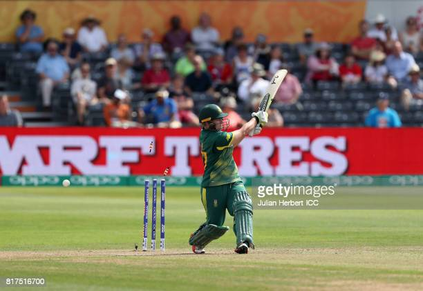 Lizelle Lee of South Africa is bowled during The ICC Women's World Cup 2017 SemiFinal between England and South Africa at The County Ground on July...