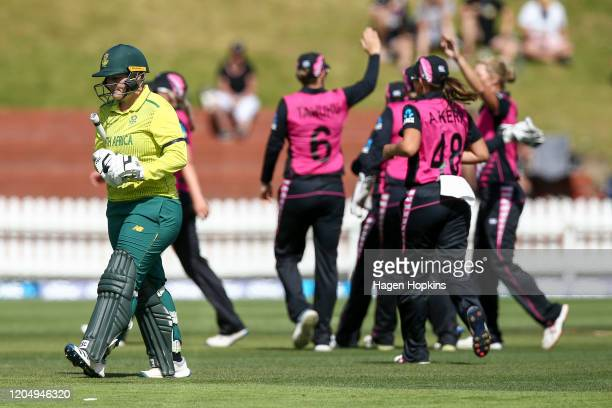 Lizelle Lee of South Africa leaves the field after being dismissed during the third International Women's T20 Series match between New Zealand and...