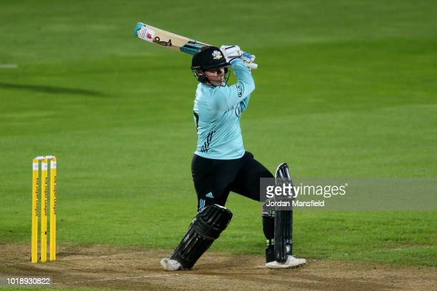Lizelle Lee of Surrey Stars bats during the Women's Kia Super League match between Surrey Stars and Western Storm at The Kia Oval on August 18 2018...