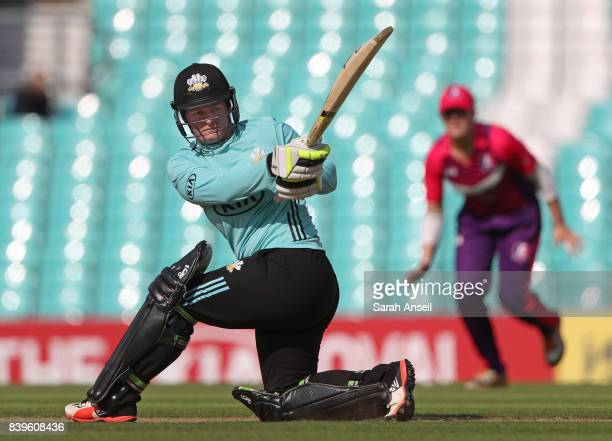 Lizelle Lee of Surrey Stars hits out during the Kia Super League 2017 match between Surrey Stars and Loughborough Lightning at The Kia Oval on August...