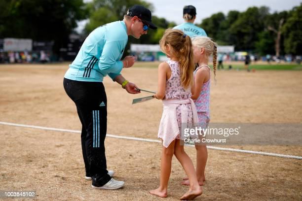 Lizelle Lee of Surrey Stars signs her autograph for fans during the Kia Super League match between Surrey Stars and Southern Vipers on July 22 2018...