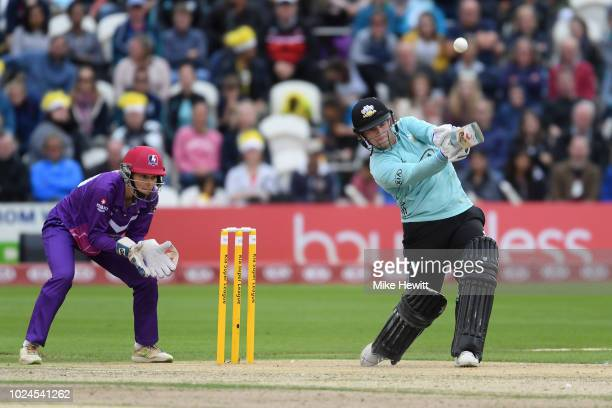 Lizelle Lee of Surrey Stars smashes a boundary during the Final between Loughborough Lightning and Surrey Stars on Finals Day Kia Super League 2018...