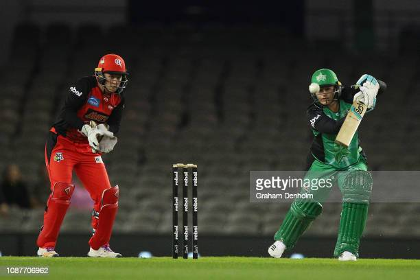 Lizelle Lee of the Melbourne Stars bats during the Women's Big Bash League match between the Melbourne Renegades and the Melbourne Stars at Etihad...