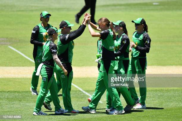 Lizelle Lee of the Melbourne Stars celebrates after taking a catch to dismiss Tahlia McGrath during the Adelaide Strikers v Melbourne Stars Women's...