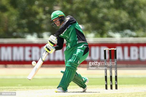 Lizelle Lee of the Melbourne Stars plays a shot during the Women's Big Bash League match between the Sydney Thunder and the Melbourne Stars at...