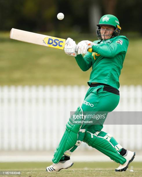 Lizelle Lee of the Stars bats during the Women's Big Bash League match between the Melbourne Stars and the Hobart Hurricanes at CitiPower Centre on...