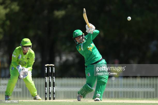 Lizelle Lee of the Stars bats during the Women's Big Bash League match between the Melbourne Stars and Sydney Thunder at Bankstown Oval on October 27...