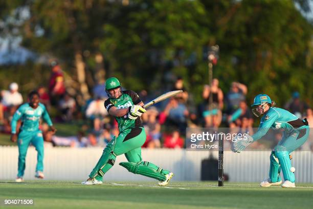 Lizelle Lee of the Stars bats during the Women's Big Bash League match between the Brisbane Heat and the Melbourne Stars at Harrup Park on January 12...