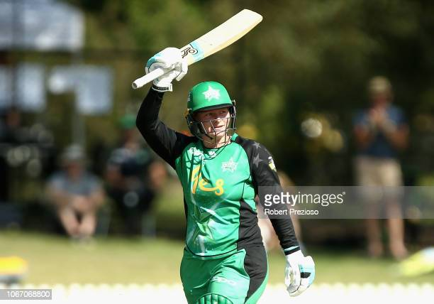 Lizelle Lee of the Stars celebrates her century during the Women's Big Bash League match between the Melbourne Stars and the Sydney Sixers at...