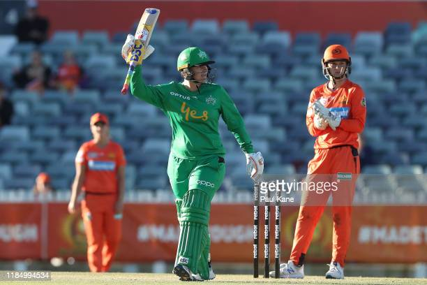 Lizelle Lee of the Stars celebrates her century during the Women's Big Bash League match between the Perth Scorchers and Melbourne Stars at the WACA...