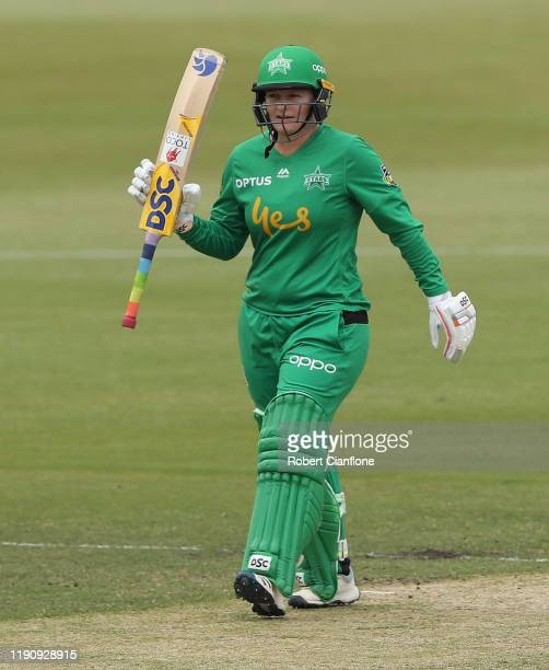 Lizelle Lee of the Stars celebrates scoring her fifty runs during the Women's Big Bash League match between the Melbourne Stars and the Melbourne...