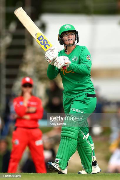 Lizelle Lee of the Stars hits a six during the Women's Big Bash League match between the Melbourne Renegades and the Melbourne Stars at Eastern Park...