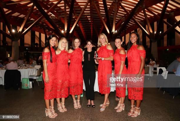 Lizette Cabrera Daria Gavrilova Ashleigh Barty Casey Dellacqua and Destanee Aiava of Australia pose with Tennis Australia President Jayne Hrdlicka...