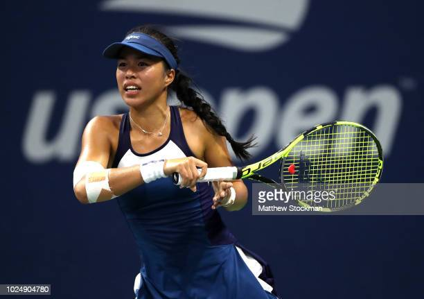 Lizette Cabrera of Austrailia reacts during her women's singles first round match against Ajla Tomljanovic of Australia on Day Two of the 2018 US...