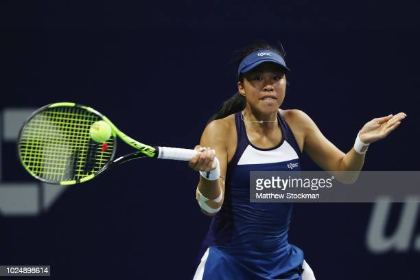 Lizette Cabrera of Austrailia returns the ball during her women's singles first round match against Ajla Tomljanovic of Australia on Day Two of the...