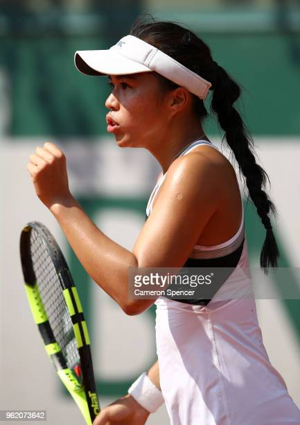 Lizette Cabrera of Australia celebrates a point during her French Open second round Women's qualifying round match against Alexandra Dulgheru of...