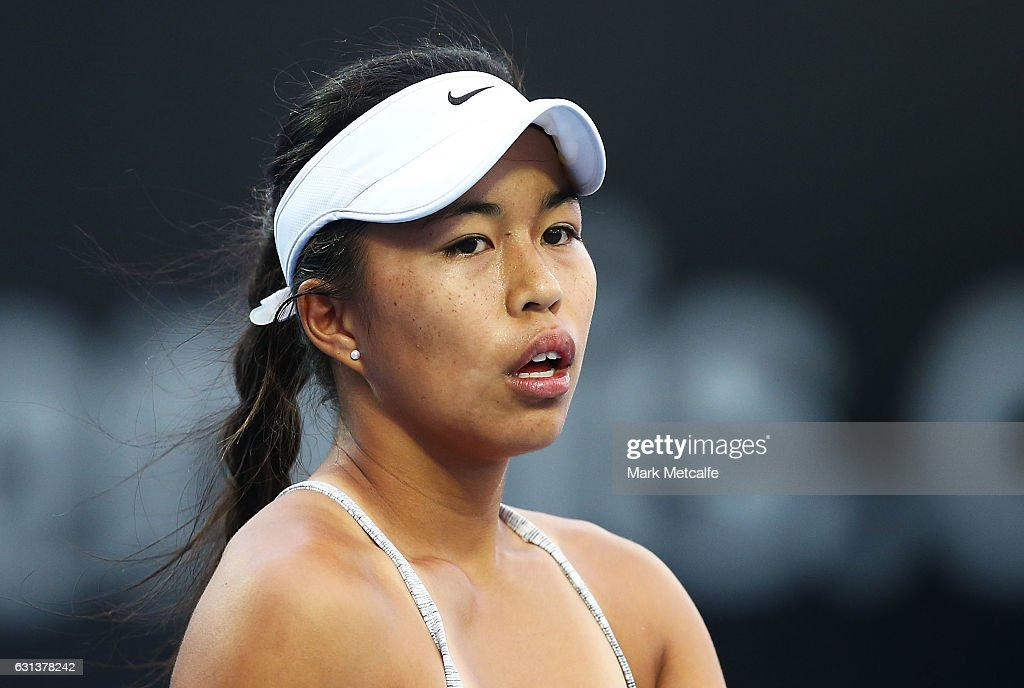Lizette Cabrera of Australia looks on in her second round match against Jana Fett of Croatia during day one of the 2017 Hobart International at Domain Tennis Centre on January 10, 2017 in Hobart, Australia.