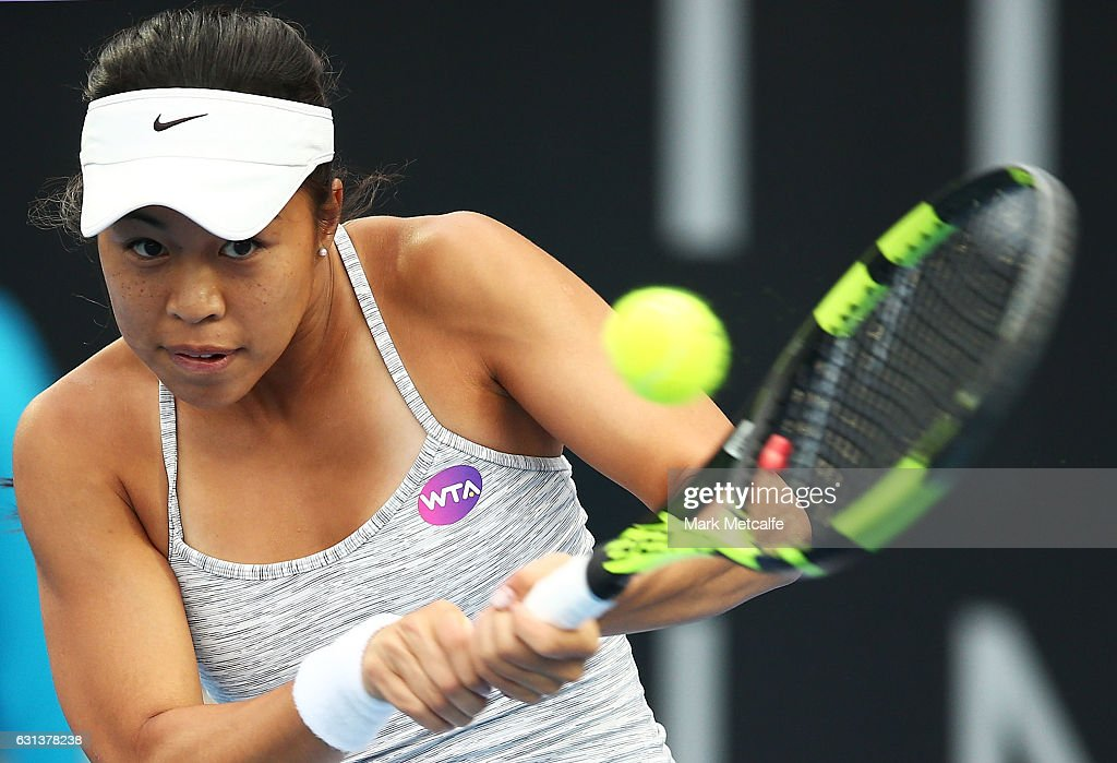 Lizette Cabrera of Australia plays a backhand in her second round match against Jana Fett of Croatia during day one of the 2017 Hobart International at Domain Tennis Centre on January 10, 2017 in Hobart, Australia.
