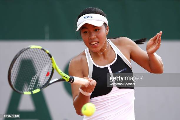 Lizette Cabrera of Australia plays a forehand during her French Open second round Women's qualifying round match against Alexandra Dulgheru of...