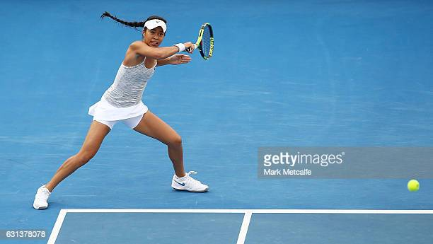 Lizette Cabrera of Australia plays a forehand in her second round match against Jana Fett of Croatia during day one of the 2017 Hobart International...