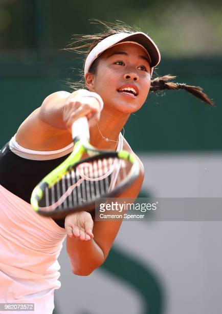 Lizette Cabrera of Australia serves during her French Open second round Women's qualifying round match against Alexandra Dulgheru of Romania at...