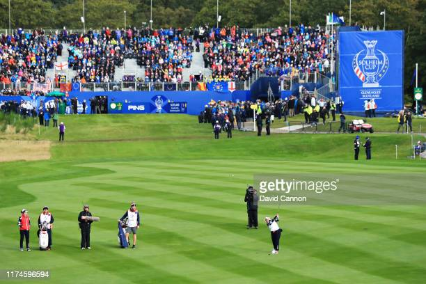 Lizette Salas of Team USA plays her second shot on the first hole during Day 2 of the Solheim Cup at Gleneagles on September 14, 2019 in...