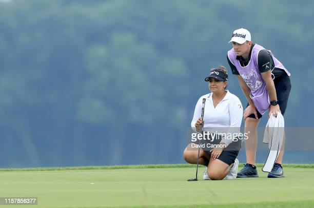 Lizette Salas of the Unhited States lines up a putt on the par 4 16th hole during the final round of the 2019 KPMG Women's PGA Championship at...
