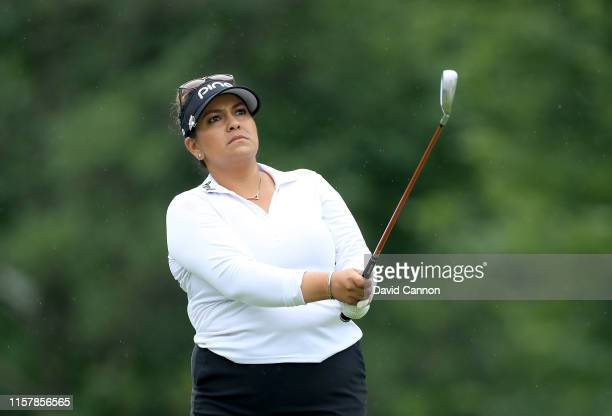Lizette Salas of the Unhited States plays her tee shot on the par 3 13th hole during the final round of the 2019 KPMG Women's PGA Championship at...