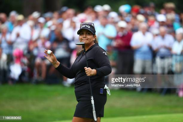 Lizette Salas of the United States of America acknowledges the crowd after a missed birdie attempt on the 18th green during Day Four of the AIG...