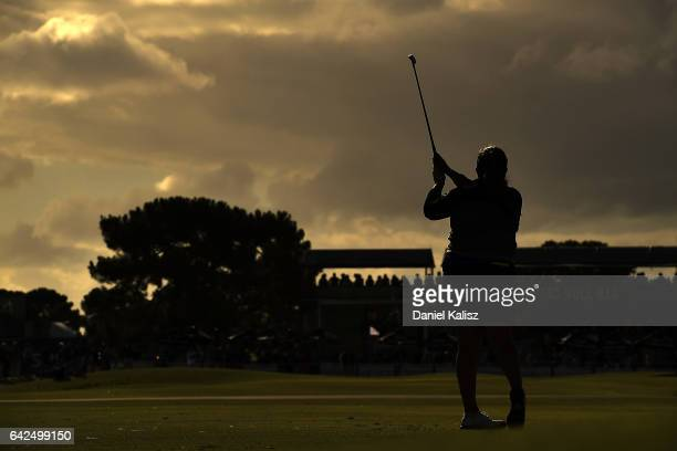 Lizette Salas of the United States plays a shot during round three of the ISPS Handa Women's Australian Open at Royal Adelaide Golf Club on February...