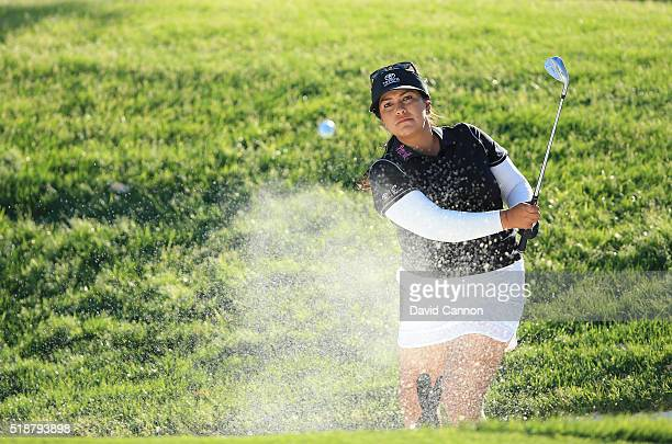 Lizette Salas of the United States plays her second shot at the par 3 17th hole during the third round of the 2016 ANA Inspiration at the Mission...