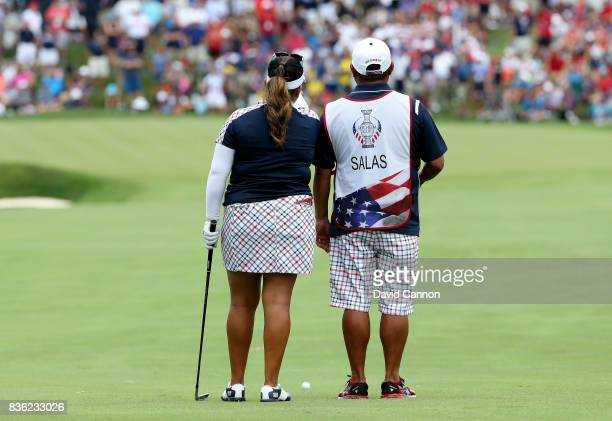 Lizette Salas of the United States team in action against Jodi Ewart Shadoff of the European team during the final day singles matches in the 2017...
