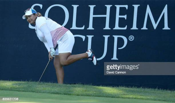 Lizette Salas of the United States Team plays her third shot on the 16th hole in her match with Angel Yin against Anna Nordqvist and Jodi Ewart...
