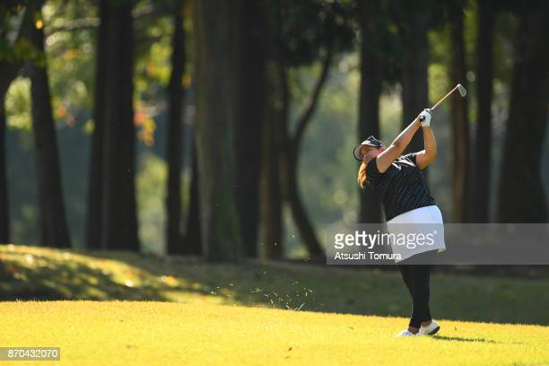 Lizette Salas of the USA hits her second shot on the 9th hole during the final round of the TOTO Japan Classics 2017 at the Taiheiyo Club Minori...