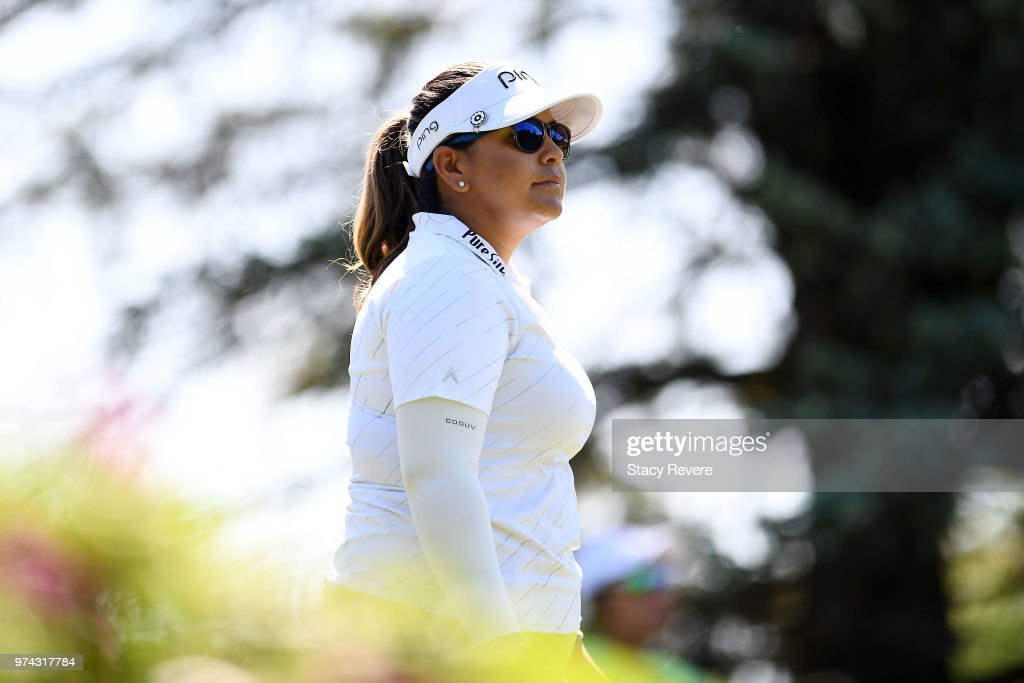 Lizette Salas walks off the third tee box during the first round of the Meijer LPGA Classic for Simply Give at Blythefield Country Club on June 14, 2018 in Grand Rapids, Michigan.