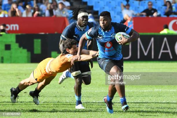 Lizo Gqoboka of the Bulls in action during the Super Rugby match between Vodacom Bulls and Jaguares at Loftus Versfeld on April 06 2019 in Pretoria...