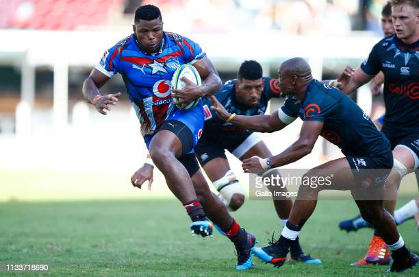 Lizo Gqoboka of the Vodacom Bulls charges upfield during the Super Rugby match between Cell C Sharks and Vodacom Bulls at Jonsson Kings Park on March...