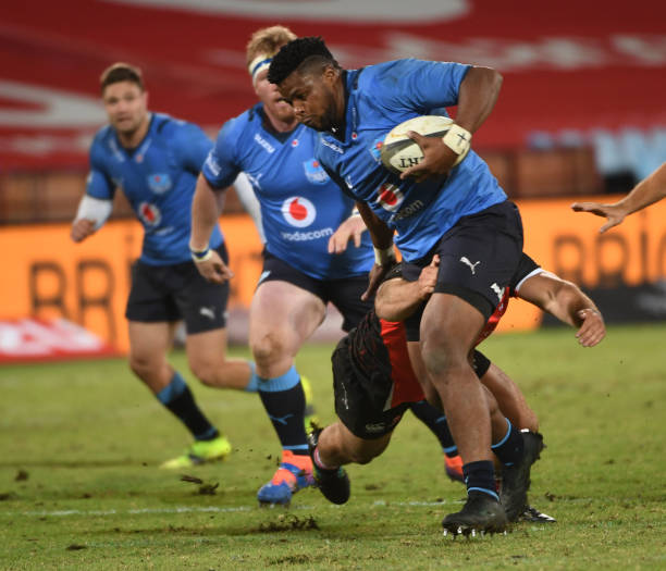 Lizo Gqoboka of the Vodacom Bulls in action during the PRO14 Rainbow Cup SA match between Vodacom Bulls and Emirates Lions at Loftus Versfeld Stadium on May 01, 2021 in Pretoria, South Africa. (Photo by Lee Warren/Gallo Images/Getty Images)