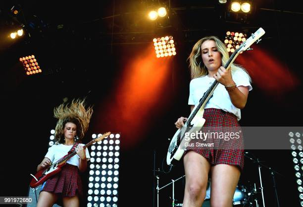 Lizz Steichen and Sophie Scott of Hey Charlie perform on stage at Finsbury Park on June 29, 2018 in London, England.