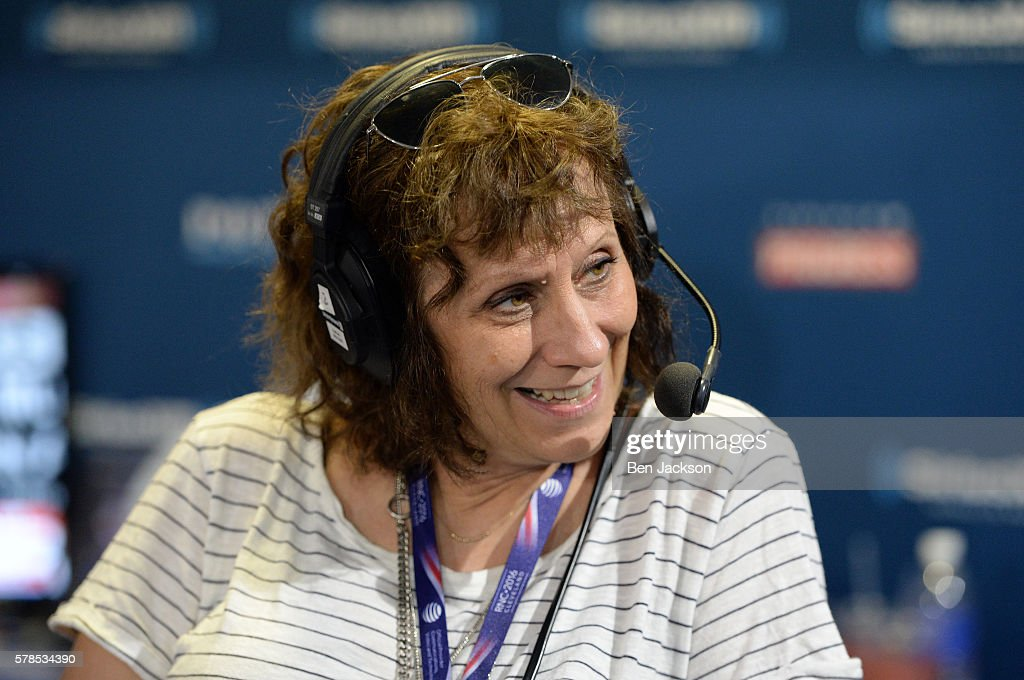 Lizz Winstead, Co Creator of The Daily Show, talks with Michael Angelo during an episode of The Michelangelo Signorile Show on SiriusXM Progress at Quicken Loans Arena on July 21, 2016 in Cleveland, Ohio.