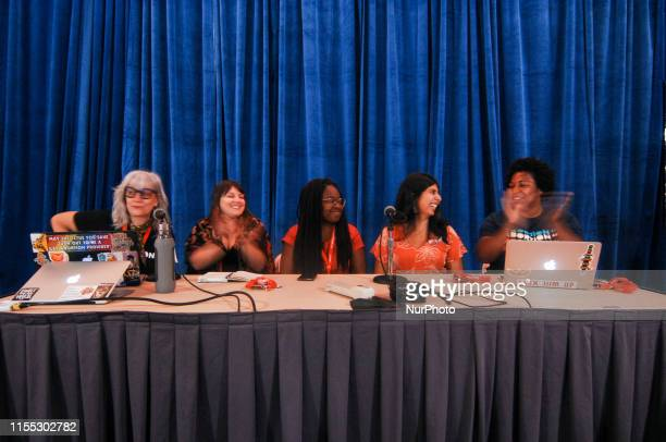Lizz Winstead leads a discussion panel on the issue of women's reproductive rights at Netroots Nation 2019 in Philadelphia PA on Jully 11 2019