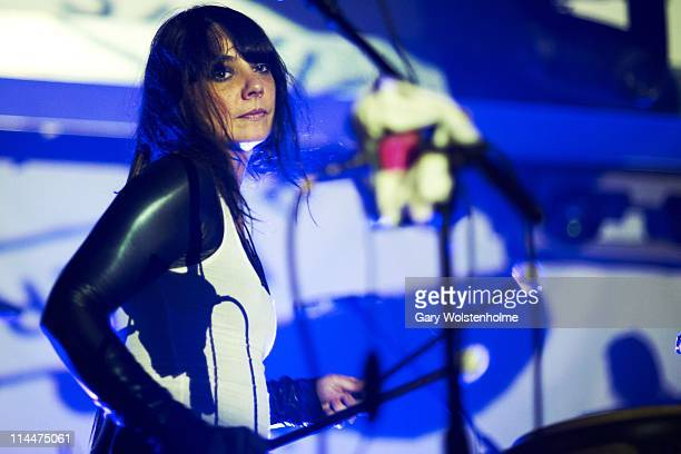 Lizzi Bougatsos of Gang Gang Dance performs on stage during the final day of ATP Festival curated by Animal Collective at Butlins Holiday Centre on...