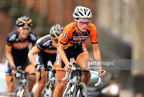 Lizzie Armitstead of Boels Dolmans Cycling Team leads the breakaway group during the 2013 National Womens Road Race Championships on June 23, 2013 in...