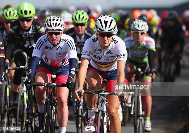 Lizzie Armitstead of the Great Britain National Team competes during the women's race in the second stage of the 2016 Tour de Yorkshire between Otley...