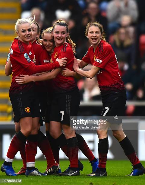 Lizzie Arnot of Manchester United Women celebrates scoring their third goal goal during the FA Women's Championship match between Manchester United...