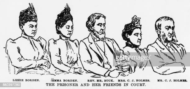 Lizzie Borden the prisoner and her friends in court