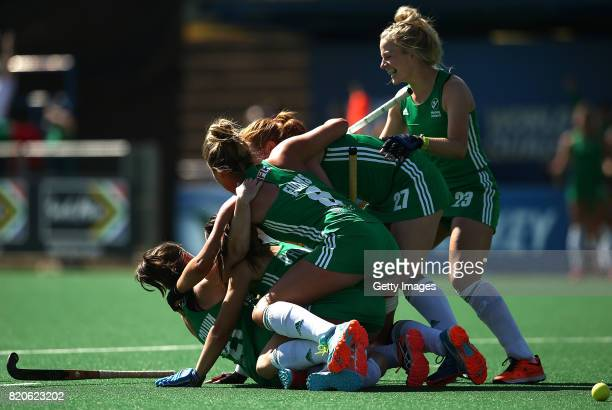 Lizzie Colvin of Ireland celebrates her goal with team mates during day 8 of the FIH Hockey World League Women's Semi Finals 7th/ 8th place match...