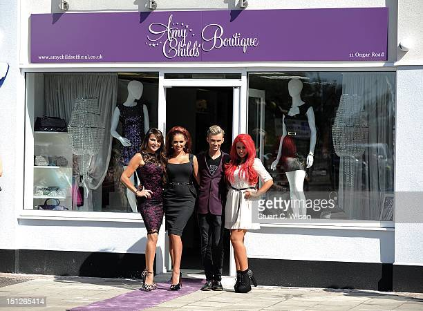 Lizzie Cundy Amy Childs Harry Derbridge and Holly Hagan attend the opening of Amy's clothing boutiquee at Amy Childs Boutique on September 5 2012 in...
