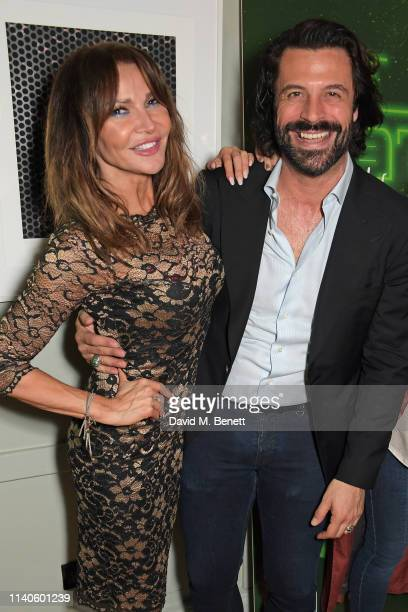Lizzie Cundy and Christian Vit attend the launch of Jo Wood's new podcast Alien Nation With Jo Wood at The Groucho Club on May 1 2019 in London...
