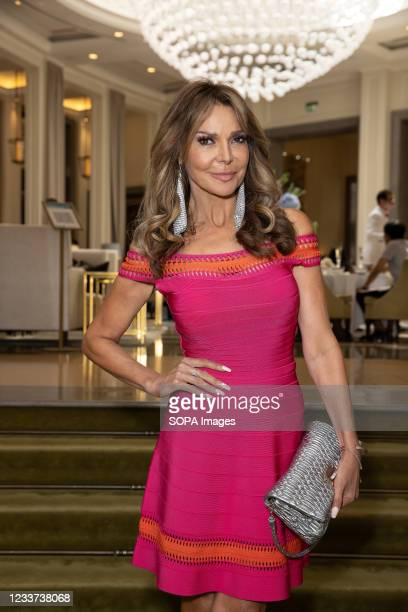 Lizzie Cundy attends afternoon tea at Corinthia Hotel London in aid of Breast Cancer Now hosted by Angie Greaves and Concorde Media.